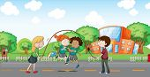 stock photo of playmate  - Illustration of the kids playing at the road - JPG
