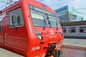 MOSCOW - MARCH 30:  Aeroexpress red train on Paveletsky station on March 30, 2014 in Moscow. Aeroexp