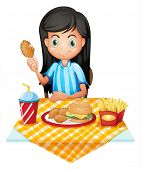 Illustration of a girl eating on a white background