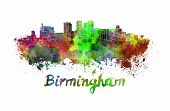 Birmingham Skyline In Watercolor