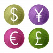 Currencies Symbols, Dollar, Pound, Euro And Yen