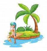 Illustration of a pretty mermaid in the island on a white background