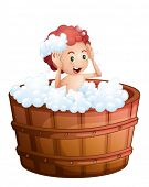 Illustration of a smiling young boy inside the wooden bathtub on a white background