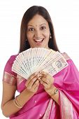 Indian Traditional Woman Holding Indian Rupee Notes