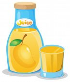 Illustration of a bottle of mango juice on a white background