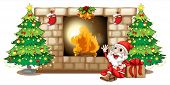 Illustration of a happy Santa near the fireplace on a white background