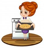 Illustration of a lady cooking a pizza on a white background
