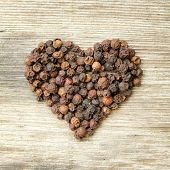 Heart shaped black pepper