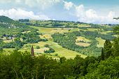 stock photo of apennines  - Rolling Hills of the Apennines Mountains Piacenze Italy - JPG