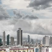 Typical Hong Kong apartment skyline, new, old and under construction buildings located in the same a