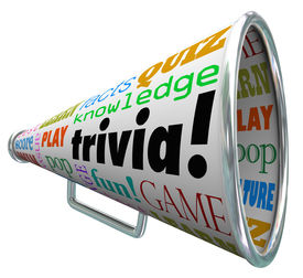 pic of quiz  - Trivia words on a bullhorn or megaphone to quiz or test your knowledge on pop culture - JPG
