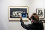 People taking a photo at Paris Photo art fair 2014, Paris, France