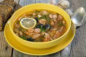 Meat Soup - Solyanka. Russian Cuisine.