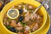 Meat Soup In A Bowl Close Up.