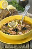Meat Soup. The Traditional Russian Soup - Solyanka.