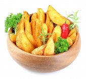 Homemade fried potato in bowl isolated on white