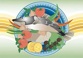 For dinner  fish. Painting.Banner.
