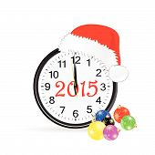 Christmas Clock 2015 Color Vector Illustration