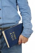 Man holding Bible close up