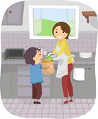 Illustration Featuring a Boy Helping His Mom in the Kitchen