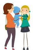 stock photo of babysitter  - Illustration Featuring a Mother Handing Her Baby to a Babysitter - JPG