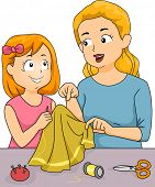 Illustration Featuring a Mother Giving Sewing Lessons to Her Daughter