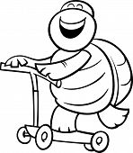 Turtle On Scooter Coloring Page