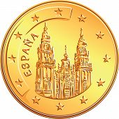picture of spanish money  - gold money Spanish coin euro with Cathedral of Santiago de Komposetela - JPG