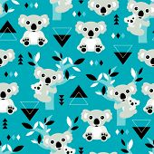 Seamless geometric winter blue koala bear kids illustration background pattern in vector