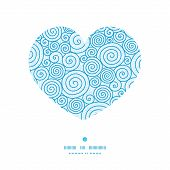 Vector abstract swirls heart silhouette pattern frame