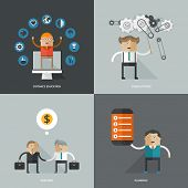 Set of flat design concept images for infographics, business, web, distance education, planning, consulting