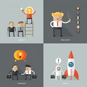 Set of flat design concept images for infographics, business, web, partnership, startup,