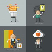 Set of flat design concept images for infographics, business, web, art, cloud, programing, mobile marketing