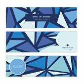 Vector abstract ice chrystals horizontal banners set pattern background