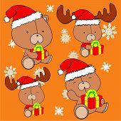 sweet xmas teddy bear baby cartoon set