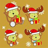 sweet xmas monkey baby cartoon set