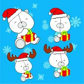 sweet xmas polar bear baby cartoon set