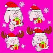 sweet xmas bunny baby cartoon set