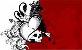 heraldic heart arrows crest background6