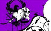 heraldic heart arrows background1