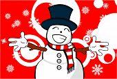snow man cartoon xmas background9