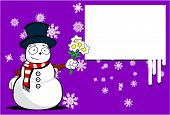 snow man cartoon xmas background6