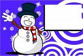 snow man cartoon xmas background3