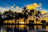 beautiful sunset in tropical beach resort