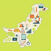 Map Of Pakistan With Technology Icons