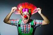 Funny clown against the grey background