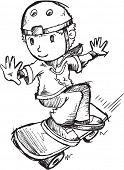 Skateboarder Sketch Vector Illustration Art