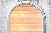 Wood Door On The Cement Wall