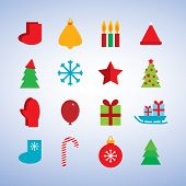 Character set new year snowflakes, socks, mittens, Christmas tree, gifts, sleigh, star, candle. vect