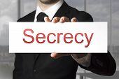 Businessman Holding Sign Secrecy